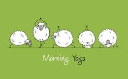 Pecore divertenti che fanno yoga, schizzo per la vostra progettazione Fotografia Stock