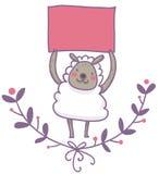 Pecore divertenti con l'illustrazione vuota del segnale Fotografia Stock