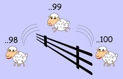 Pecore divertenti del fumetto che saltano tramite il recinto Fotografia Stock