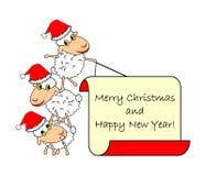 Pecore divertenti del fumetto di Natale Immagine Stock