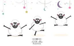 Pecore divertenti Festival islamico del sacrificio, cartolina d'auguri di celebrazione di Eid al-Adha Fotografia Stock Libera da Diritti