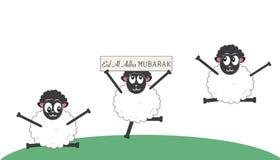 Pecore divertenti Festival islamico del sacrificio Cartolina d'auguri di celebrazione e di adha di Eid Al Fotografia Stock Libera da Diritti