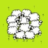 Pecore divertenti sul prato, schizzo per la vostra progettazione Fotografie Stock Libere da Diritti