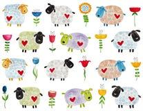 Pecore e fiori Reticolo Fotografie Stock Libere da Diritti