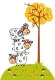 Pecore e mele del fumetto Fotografia Stock