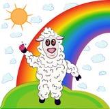 Pecore ed arcobaleno Fotografie Stock Libere da Diritti