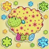 Pecore multicolori con i fiori Fotografia Stock