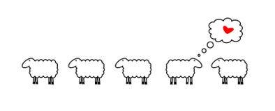 Pecore nell'amore Fotografia Stock