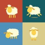 Pecore nello stile piano di colore Fotografie Stock Libere da Diritti
