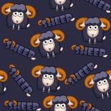 Pecore nere del modello del fumetto senza cuciture del quadrato Fotografia Stock Libera da Diritti