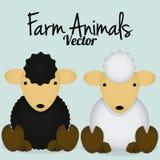 Pecore nere sveglie del fumetto di vettore e pecore bianche Fotografia Stock