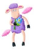 Pecore porpora con il fiore royalty illustrazione gratis