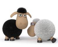 pecore ridicole dell'illustrazione 3d Fotografie Stock Libere da Diritti