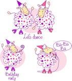 Pecore rosa di dancing Fotografie Stock