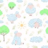 Pecore sul grassplot Royalty Illustrazione gratis