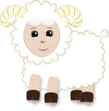 Pecore sveglie del fumetto con i corni Fotografie Stock Libere da Diritti
