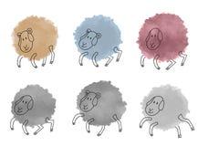 Pecore sveglie dell'acquerello messe Immagini Stock