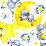 Pecore sveglie Modello senza cuciture con le pecore e la stella sveglie Fondo dell'acquerello delle stelle e delle pecore royalty illustrazione gratis