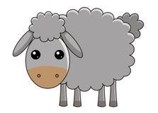 Pecore sveglie su priorità bassa bianca Fotografia Stock