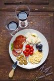 Pecorino乳酪用梨和果酱 意大利开胃菜 免版税库存图片