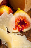 Pecorino cheese and fresh figs Royalty Free Stock Images
