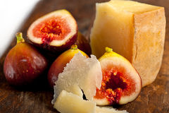 Pecorino cheese and fresh figs Stock Images