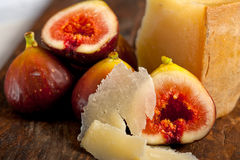 Pecorino cheese and fresh figs Royalty Free Stock Image
