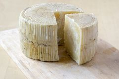 Pecorino cheese on wooden table. Cut quarter of cheese, daylight Stock Photography