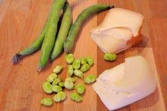 Pecorino with fava beans Royalty Free Stock Photo