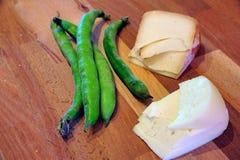 Pecorino with fava beans Stock Photos