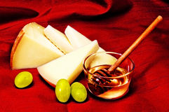 Pecorino, honey and grapes Royalty Free Stock Photo