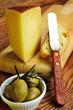 Pecorino toscano, italian sheep cheese, typical of Tuscany. On a old wooden table stock photos