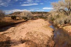 Pecos-flod på Anton Chico New Mexico Arkivfoton