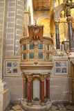 Pecs Cathedral Pulpit. Ornately decorated pulpit of Pecs cathedral in Hungary Stock Photo