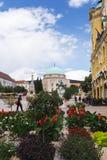 PECS, HUNGARY July.15.2017  Szechenyi square. Mosque church ,Trinity Column  and statue of Janos Hunyadi on horse back in Szechenyi square, Pecs, Southern Royalty Free Stock Photography