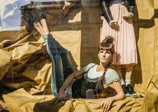 Pecs, Hungary - October 06, 2018: Showcase of fashion stores stock images