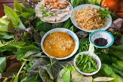 Peculiar herbs salad in Kon Tum, Vietnam. Using the leaves to make a cone-shaped container to put the food in, and use some bacon,. Fried shrimp, sliced pork Royalty Free Stock Photos