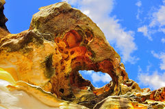 Peculiar rock formations in the sunlight. Peculiar sandstone rock formations come alive with colors and textures in the sunlight stock photos