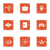 Pecuniary aid icons set, grunge style. Pecuniary aid icons set. Grunge set of 9 pecuniary aid vector icons for web isolated on white background Stock Photography