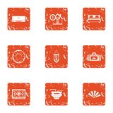 Pecuniary icons set, grunge style. Pecuniary icons set. Grunge set of 9 pecuniary vector icons for web isolated on white background Stock Photography