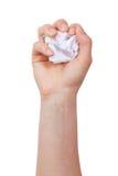 Pedaço de papel amarrotado em sua mão Fotografia de Stock