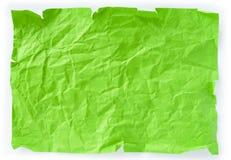 Pedaço de papel amarrotado verde Fotografia de Stock Royalty Free