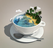 Pedaço de terra & oceano ilustração stock