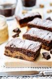 Pedaços de chocolate, barras de chocolate da manteiga de amendoim foto de stock royalty free