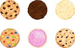 Pedaços de chocolate, caramelo, açúcar, doces, geados, e cookies de farinha de aveia Foto de Stock Royalty Free