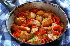 Pedaços saborosos da carne de carne de porco fritada Imagens de Stock