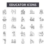 Pedagog kreskowe ikony dla sieci i mobilnego projekta Editable uderzenie znaki Pedagoga konturu pojęcia ilustracje royalty ilustracja