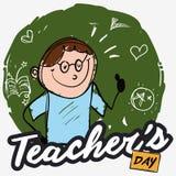Pedagog nad Chalkboard w Doodle stylu odświętności nauczycieli ` dniu, Wektorowa ilustracja ilustracji