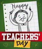 Pedagog w Doodle stylu w notatnika papierze dla nauczyciela ` dnia, Wektorowa ilustracja ilustracja wektor