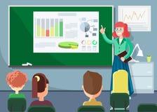 Pedagog Wskazuje przy Infographics w szkłach ilustracja wektor